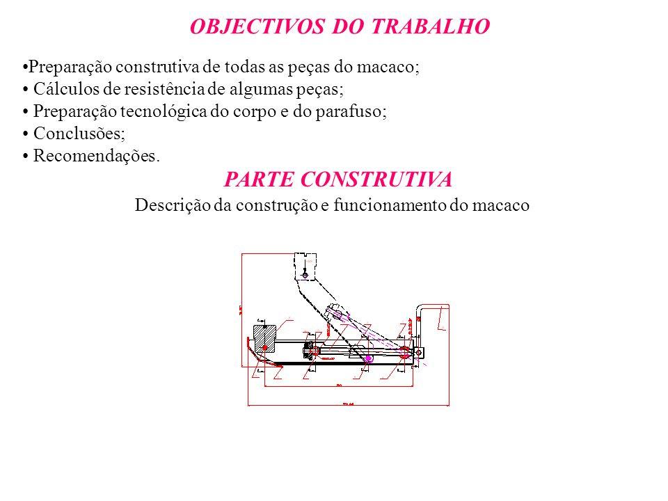 OBJECTIVOS DO TRABALHO Preparação construtiva de todas as peças do macaco; Cálculos de resistência de algumas peças; Preparação tecnológica do corpo e