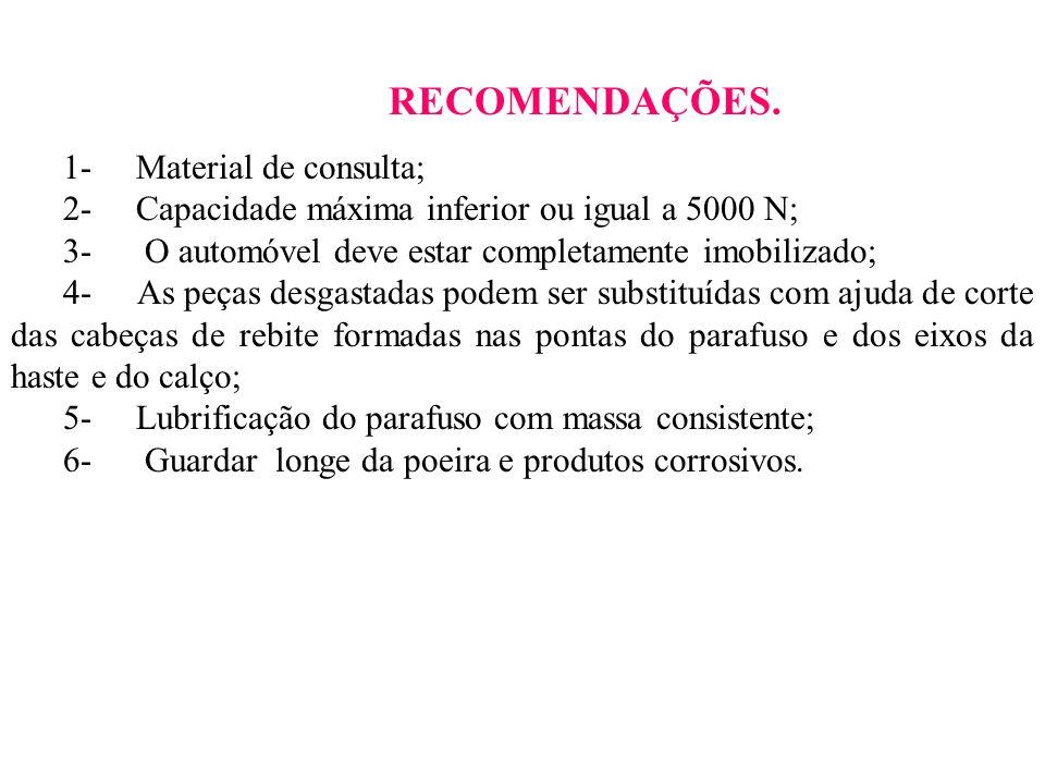 RECOMENDAÇÕES. 1- Material de consulta; 2- Capacidade máxima inferior ou igual a 5000 N; 3- O automóvel deve estar completamente imobilizado; 4- As pe