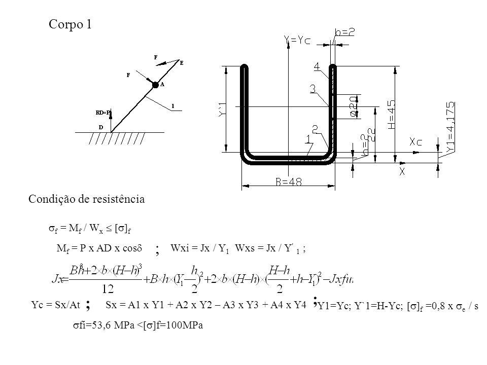 Corpo 1 Condição de resistência  f = M f / W x   f M f = P x AD x cos  ; Wxi = Jx / Y 1 Wxs = Jx / Y 1 ; Yc = Sx/At ; Sx = A1 x Y1 + A2 x Y2 – A