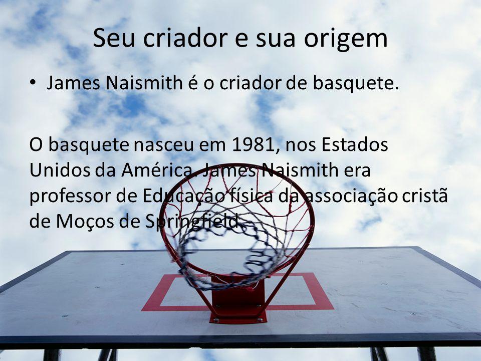 Seu criador e sua origem James Naismith é o criador de basquete. O basquete nasceu em 1981, nos Estados Unidos da América. James Naismith era professo