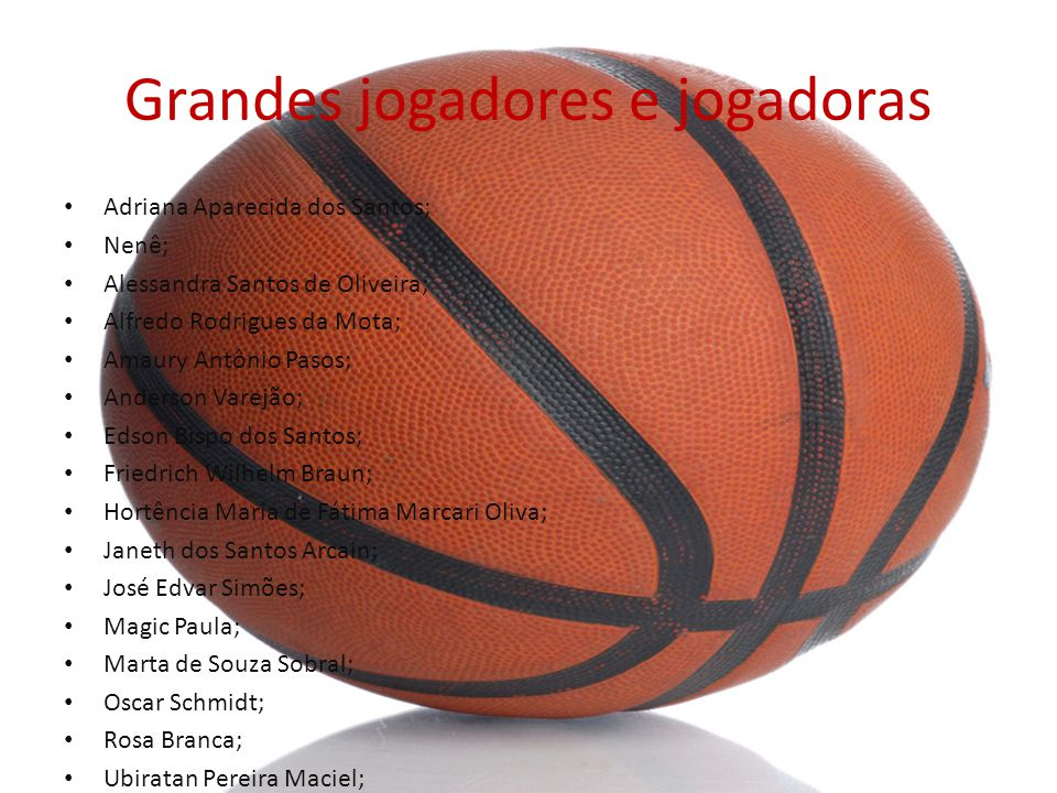 Grandes jogadores e jogadoras Adriana Aparecida dos Santos; Nenê; Alessandra Santos de Oliveira; Alfredo Rodrigues da Mota; Amaury Antônio Pasos; Ande