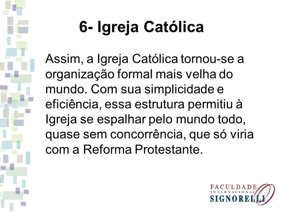 6- Igreja Católica Assim, a Igreja Católica tornou-se a organização formal mais velha do mundo.
