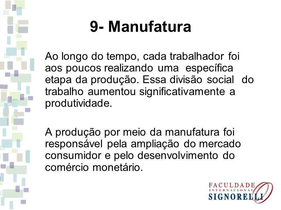 9- Manufatura Ao longo do tempo, cada trabalhador foi aos poucos realizando uma específica etapa da produção.