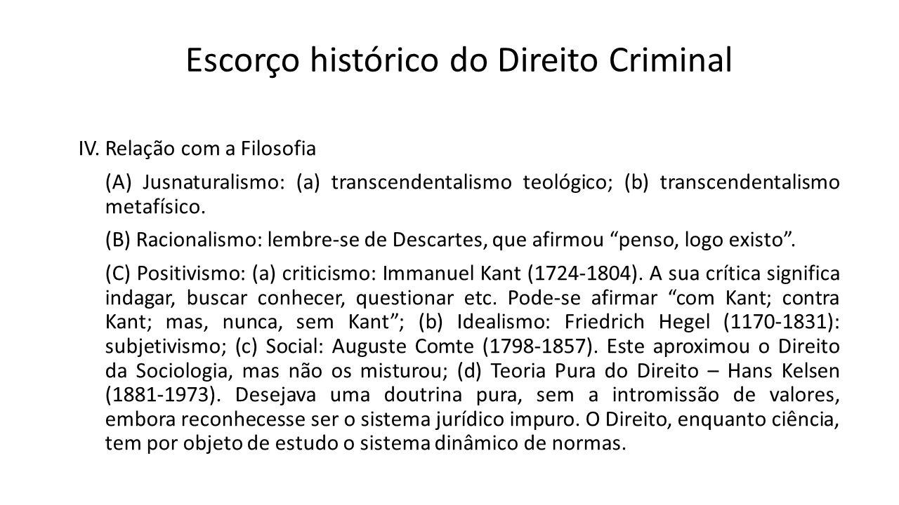 Escorço histórico do Direito Criminal IV. Relação com a Filosofia (A) Jusnaturalismo: (a) transcendentalismo teológico; (b) transcendentalismo metafís