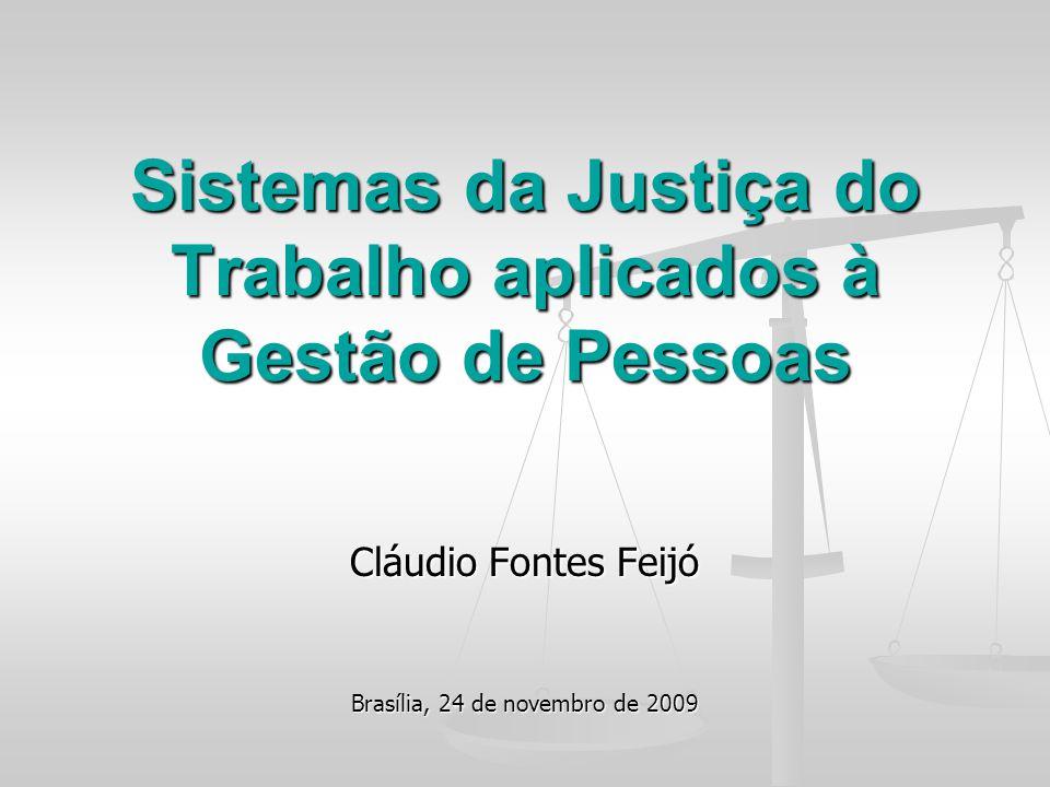 Cláudio Fontes Feijó Brasília, 24 de novembro de 2009 Sistemas da Justiça do Trabalho aplicados à Gestão de Pessoas