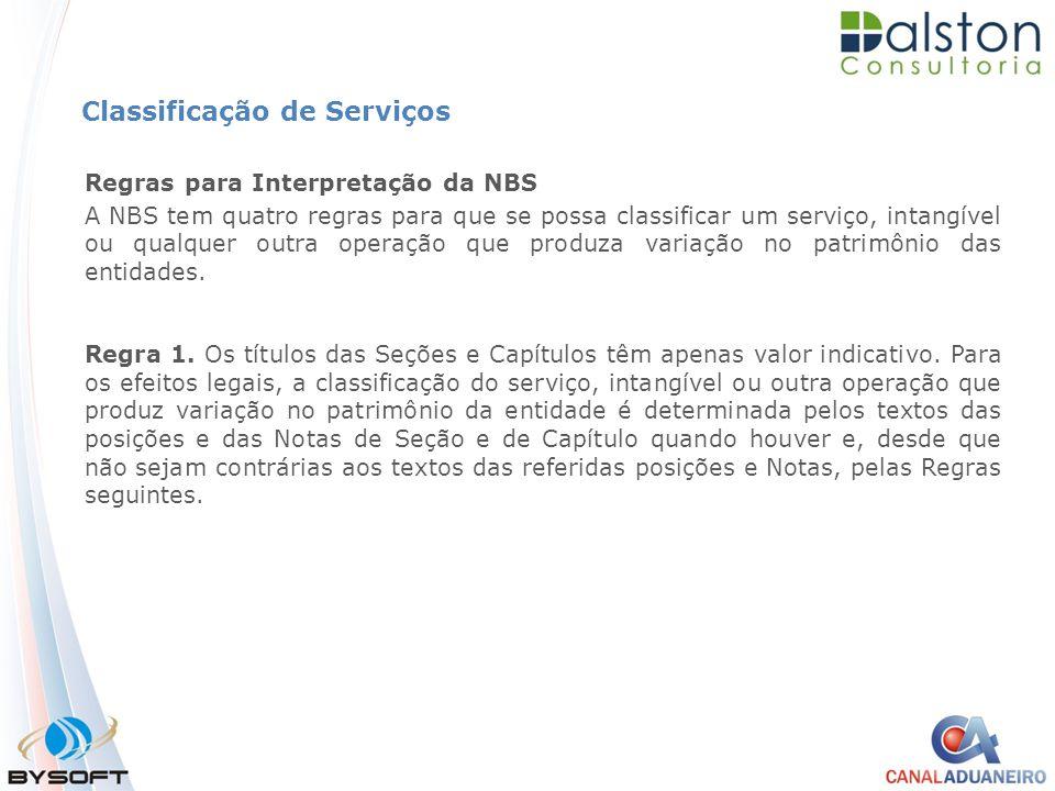 Classificação de Serviços Regras para Interpretação da NBS A NBS tem quatro regras para que se possa classificar um serviço, intangível ou qualquer ou