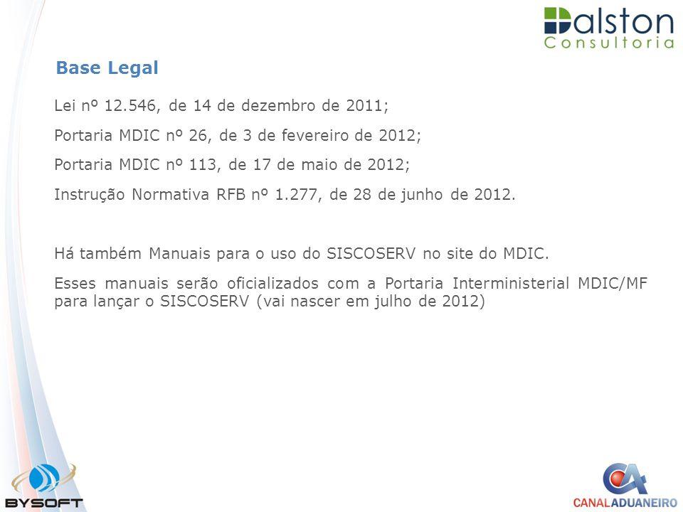 Base Legal Lei nº 12.546, de 14 de dezembro de 2011; Portaria MDIC nº 26, de 3 de fevereiro de 2012; Portaria MDIC nº 113, de 17 de maio de 2012; Inst