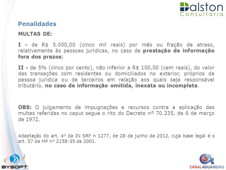 Penalidades MULTAS DE: I - de R$ 5.000,00 (cinco mil reais) por mês ou fração de atraso, relativamente às pessoas jurídicas, no caso de prestação de i
