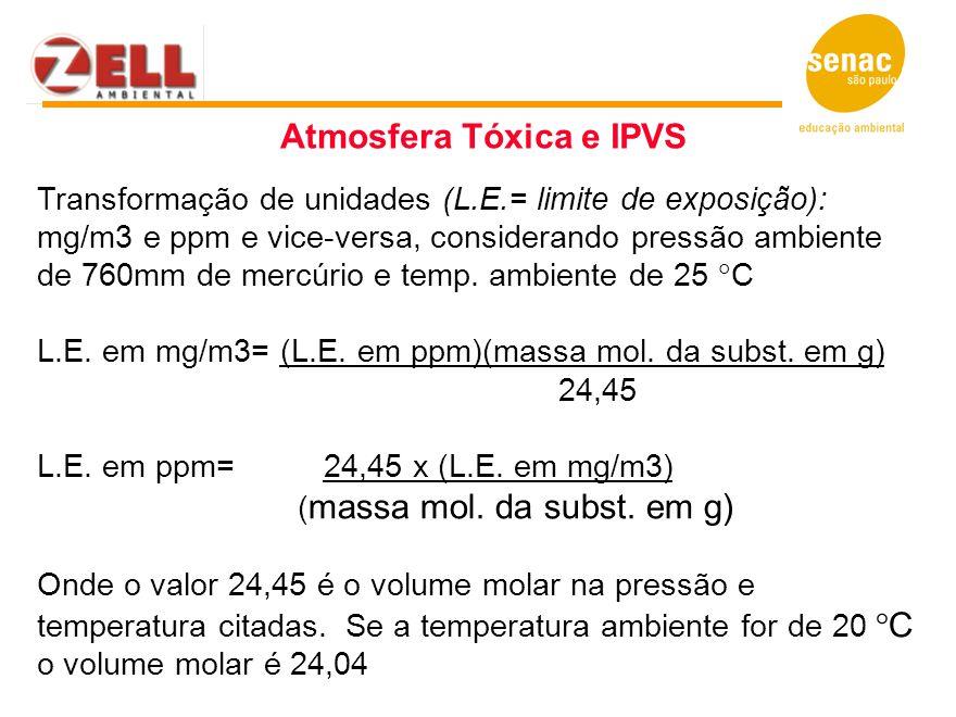 Transformação de unidades (L.E.= limite de exposição): mg/m3 e ppm e vice-versa, considerando pressão ambiente de 760mm de mercúrio e temp. ambiente d