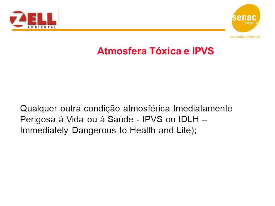 Qualquer outra condição atmosférica Imediatamente Perigosa à Vida ou à Saúde - IPVS ou IDLH – Immediately Dangerous to Health and Life); Atmosfera Tóx