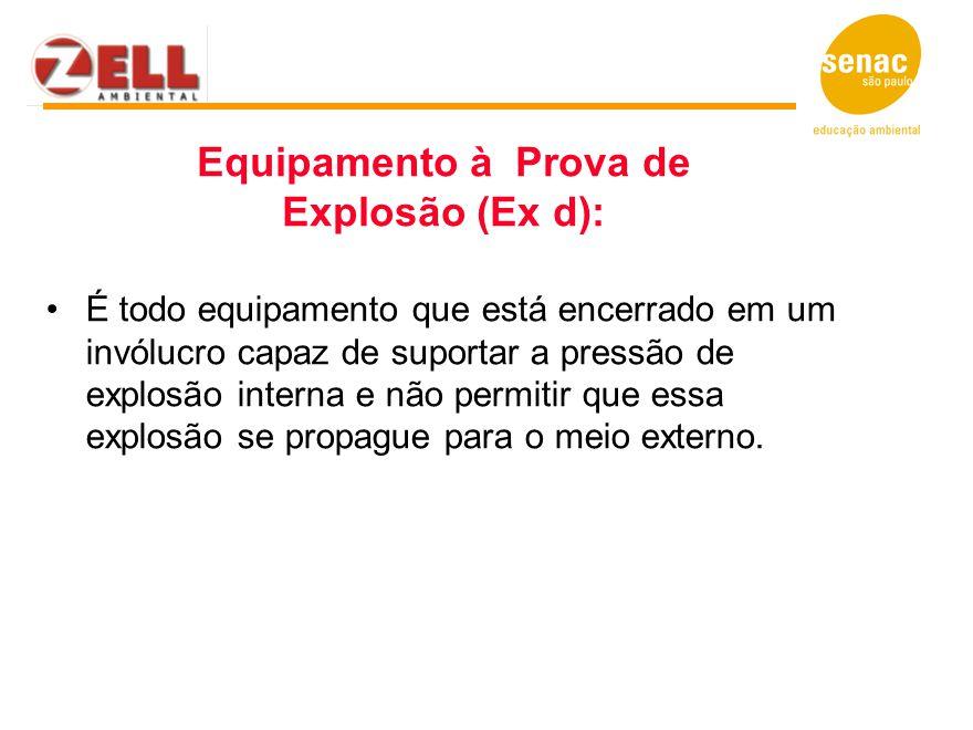 Equipamento à Prova de Explosão (Ex d): É todo equipamento que está encerrado em um invólucro capaz de suportar a pressão de explosão interna e não pe
