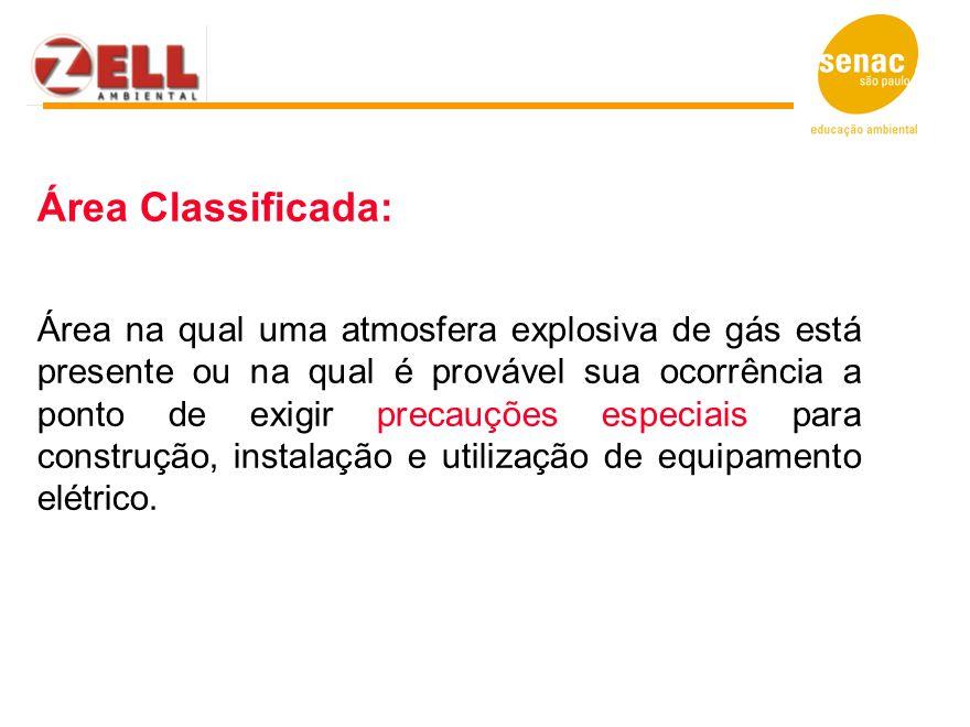 Área Classificada: Área na qual uma atmosfera explosiva de gás está presente ou na qual é provável sua ocorrência a ponto de exigir precauções especia