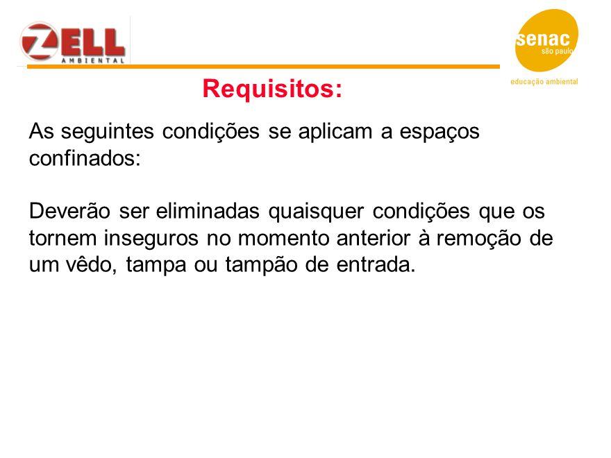 As seguintes condições se aplicam a espaços confinados: Deverão ser eliminadas quaisquer condições que os tornem inseguros no momento anterior à remoç