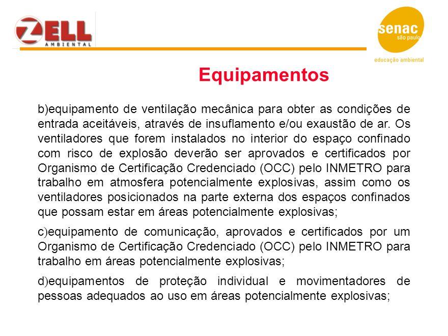 b)equipamento de ventilação mecânica para obter as condições de entrada aceitáveis, através de insuflamento e/ou exaustão de ar. Os ventiladores que f