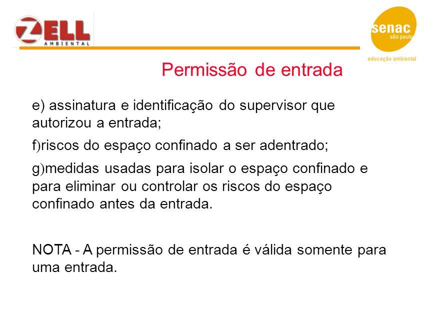 e) assinatura e identificação do supervisor que autorizou a entrada; f ) riscos do espaço confinado a ser adentrado; g ) medidas usadas para isolar o