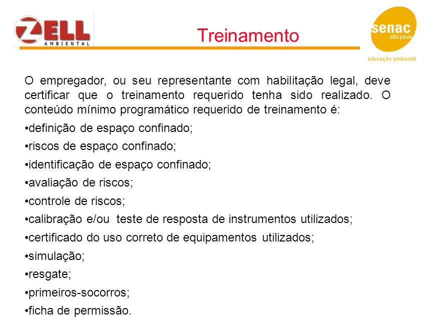 O empregador, ou seu representante com habilitação legal, deve certificar que o treinamento requerido tenha sido realizado. O conteúdo mínimo programá