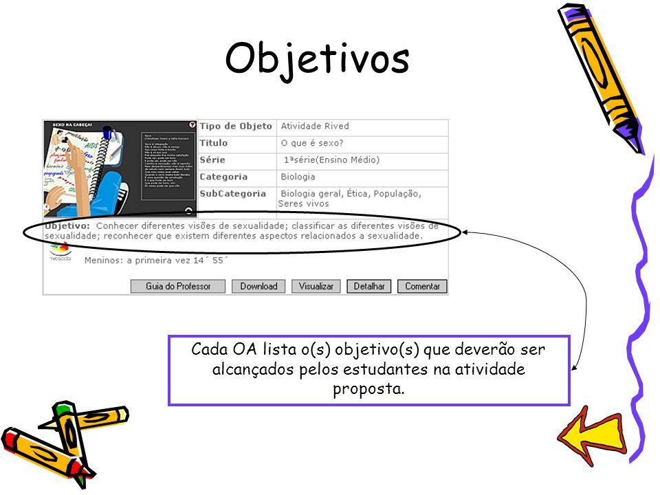 Objetivos Cada OA lista o(s) objetivo(s) que deverão ser alcançados pelos estudantes na atividade proposta.