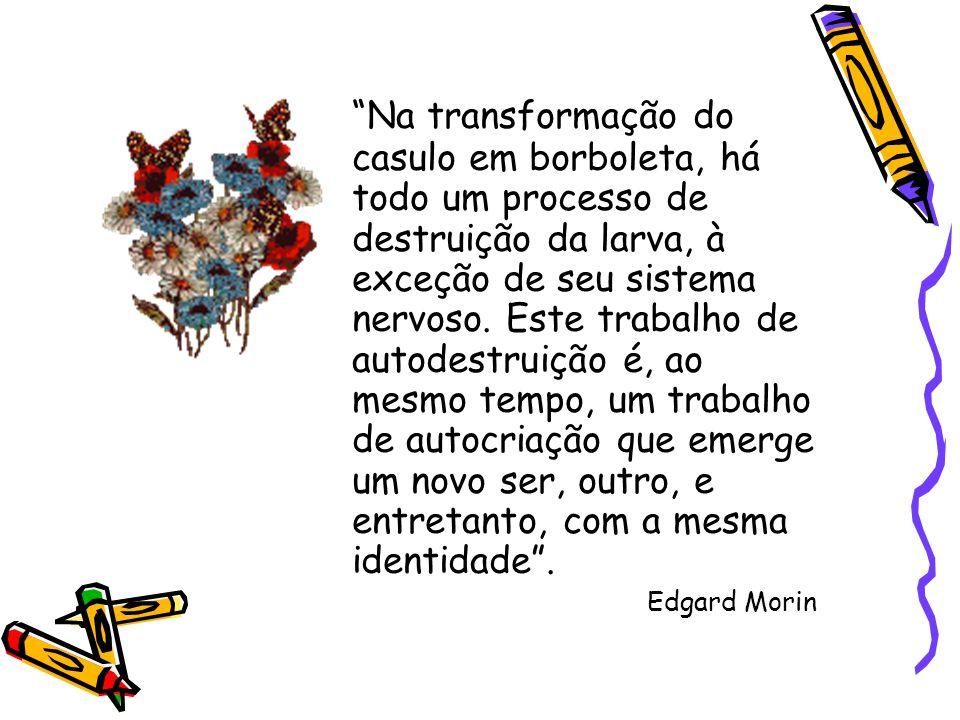 """""""Na transformação do casulo em borboleta, há todo um processo de destruição da larva, à exceção de seu sistema nervoso. Este trabalho de autodestruiçã"""