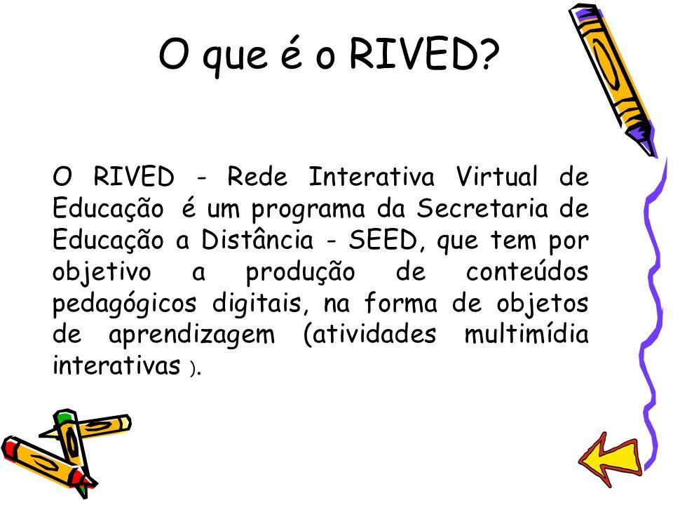 O que é o RIVED? O RIVED - Rede Interativa Virtual de Educação é um programa da Secretaria de Educação a Distância - SEED, que tem por objetivo a prod