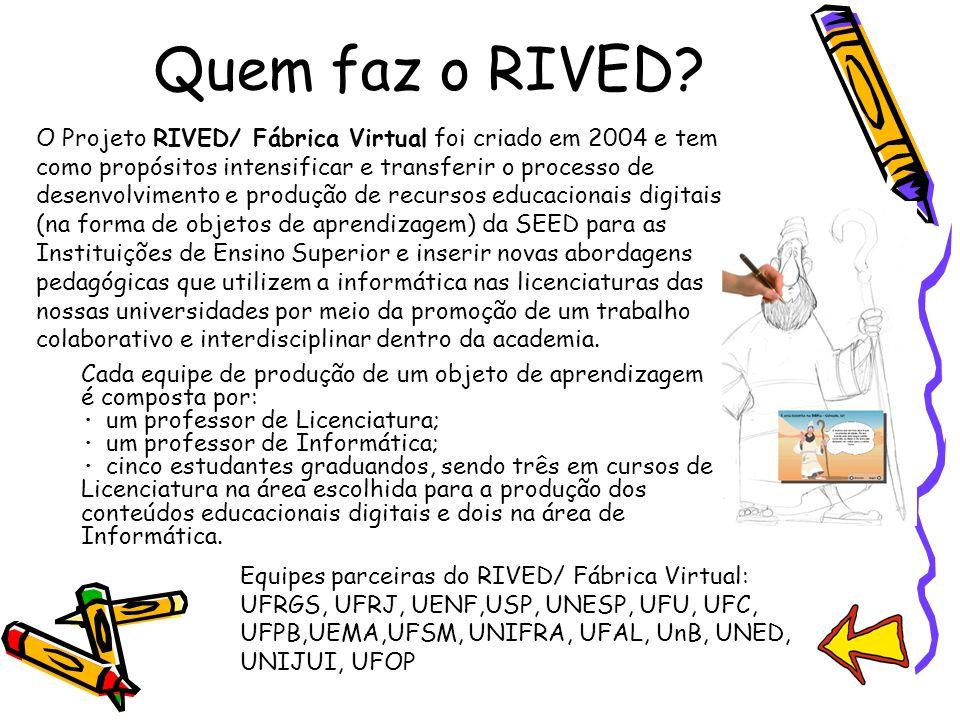 Quem faz o RIVED? Cada equipe de produção de um objeto de aprendizagem é composta por: · um professor de Licenciatura; · um professor de Informática;