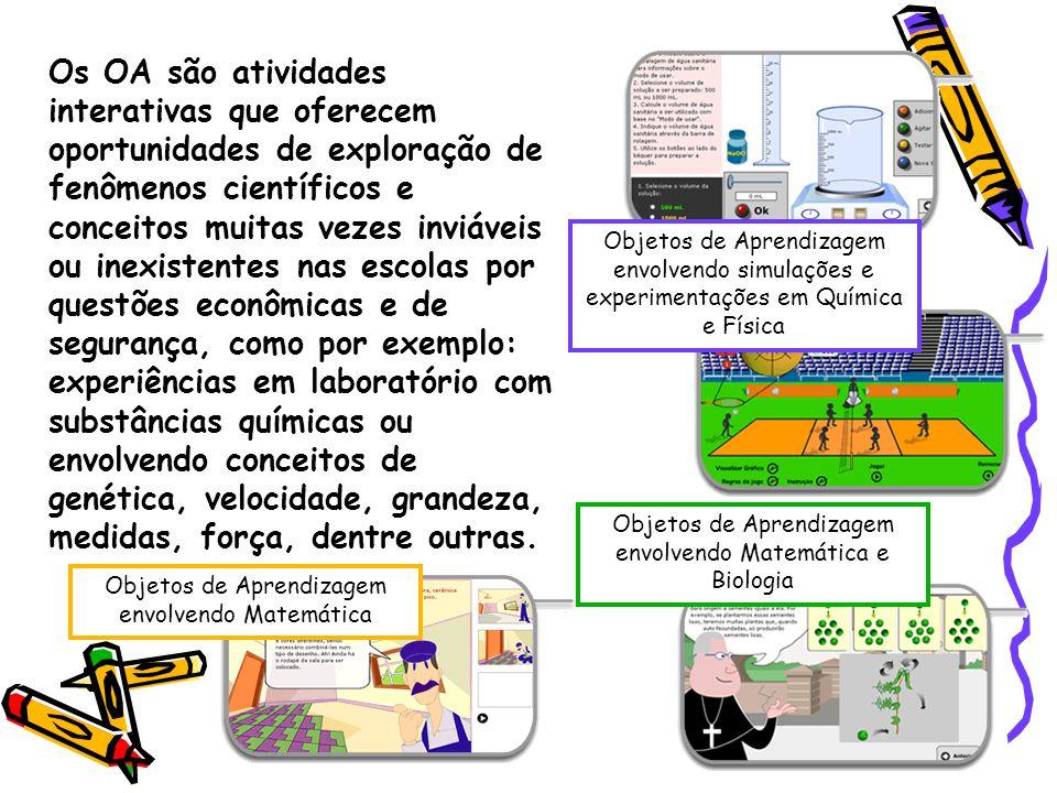 Objetos de Aprendizagem envolvendo Matemática Objetos de Aprendizagem envolvendo Matemática e Biologia Objetos de Aprendizagem envolvendo simulações e experimentações em Química e Física Os OA são atividades interativas que oferecem oportunidades de exploração de fenômenos científicos e conceitos muitas vezes inviáveis ou inexistentes nas escolas por questões econômicas e de segurança, como por exemplo: experiências em laboratório com substâncias químicas ou envolvendo conceitos de genética, velocidade, grandeza, medidas, força, dentre outras.