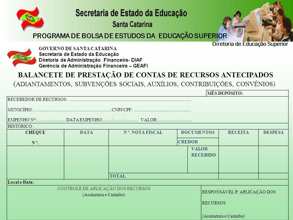 GOVERNO DE SANTA CATARINA Secretaria de Estado da Educação Diretoria de Administração Financeira- DIAF Gerência de Administração Financeira – GEAFI BA