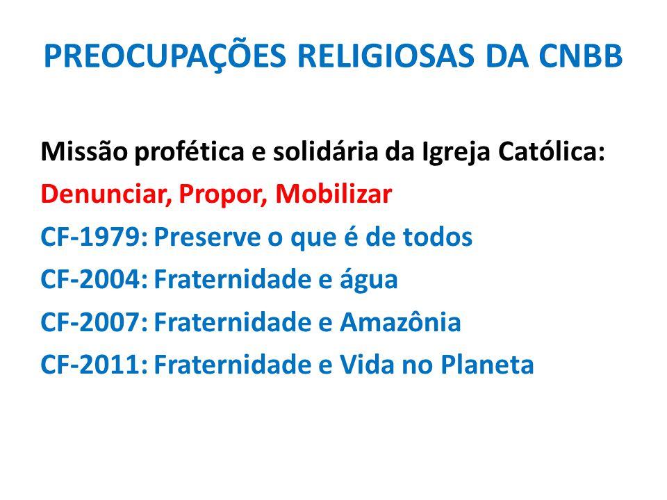 PREOCUPAÇÕES RELIGIOSAS DA CNBB Missão profética e solidária da Igreja Católica: Denunciar, Propor, Mobilizar CF-1979: Preserve o que é de todos CF-20
