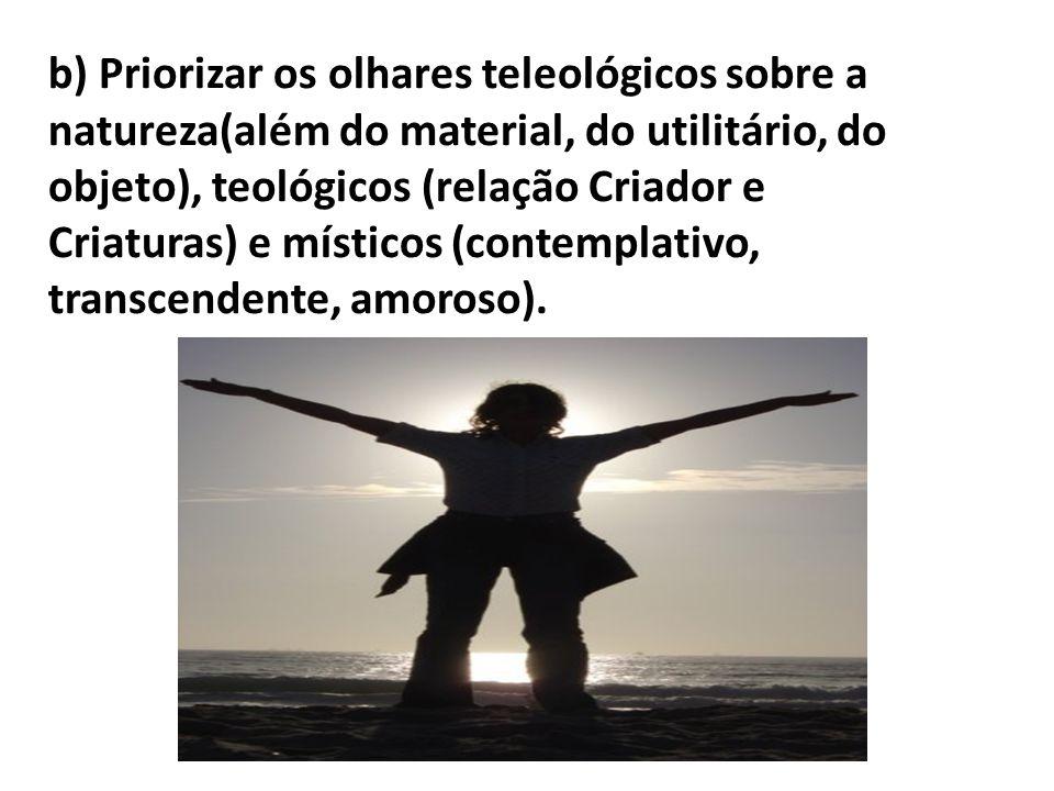 b) Priorizar os olhares teleológicos sobre a natureza(além do material, do utilitário, do objeto), teológicos (relação Criador e Criaturas) e místicos