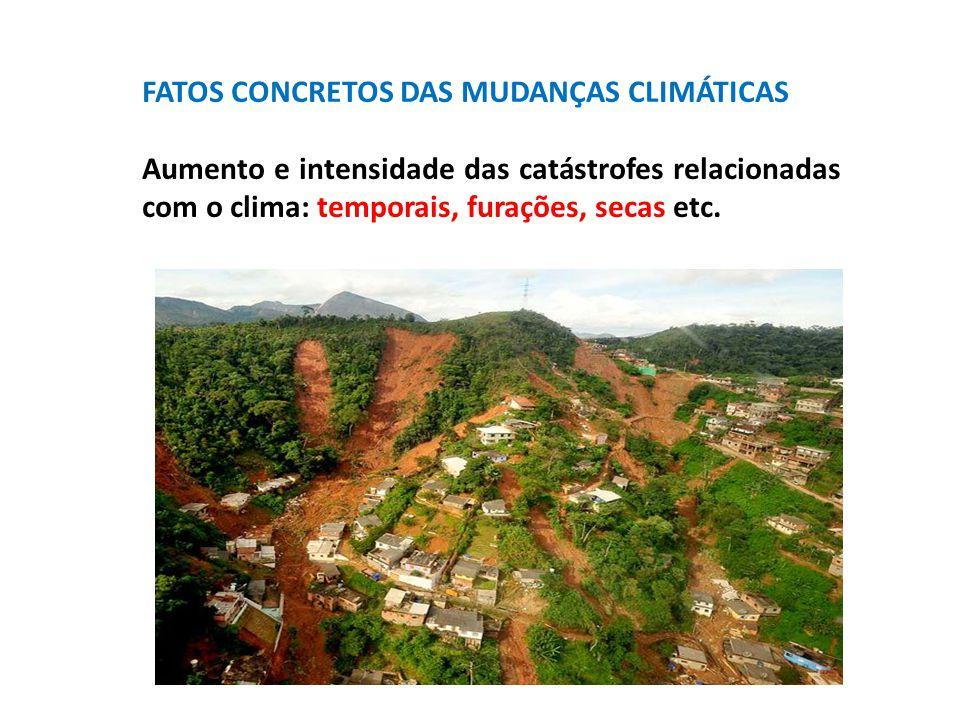 FATOS CONCRETOS DAS MUDANÇAS CLIMÁTICAS Aumento e intensidade das catástrofes relacionadas com o clima: temporais, furações, secas etc.