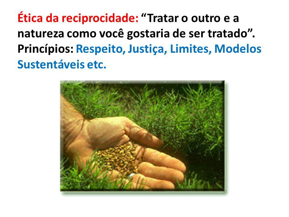 """Ética da reciprocidade: """"Tratar o outro e a natureza como você gostaria de ser tratado"""". Princípios: Respeito, Justiça, Limites, Modelos Sustentáveis"""
