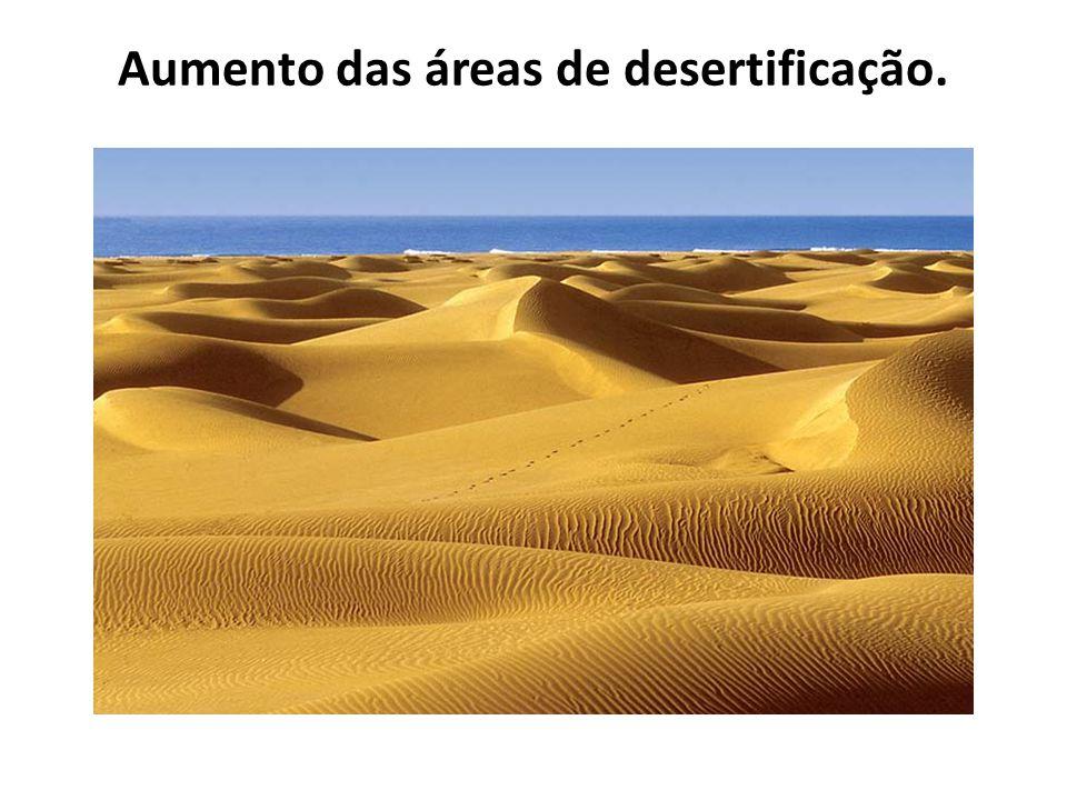 Aumento das áreas de desertificação.