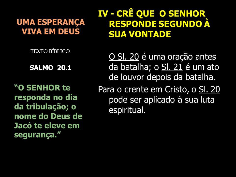 UMA ESPERANÇA VIVA EM DEUS IV - CRÊ QUE O SENHOR RESPONDE SEGUNDO À SUA VONTADE O Sl. 20 é uma oração antes da batalha; o Sl. 21 é um ato de louvor de