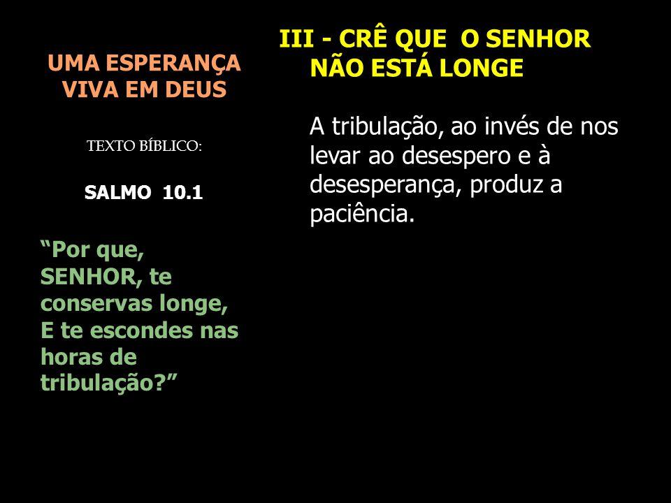 UMA ESPERANÇA VIVA EM DEUS III - CRÊ QUE O SENHOR NÃO ESTÁ LONGE A tribulação, ao invés de nos levar ao desespero e à desesperança, produz a paciência
