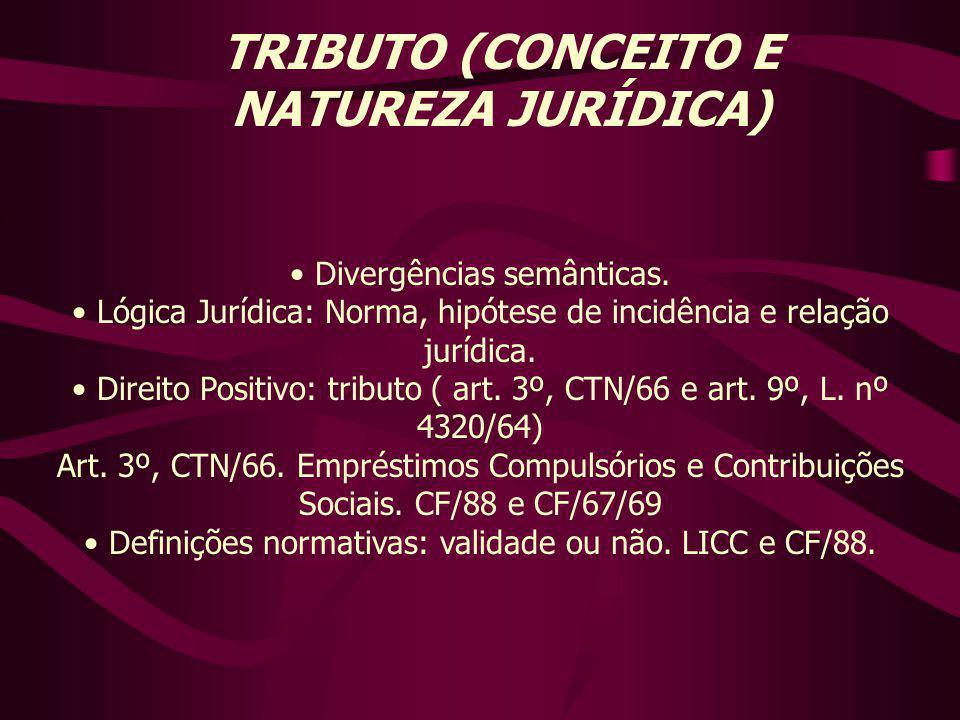 TRIBUTO (CONCEITO E NATUREZA JURÍDICA) Divergências semânticas.
