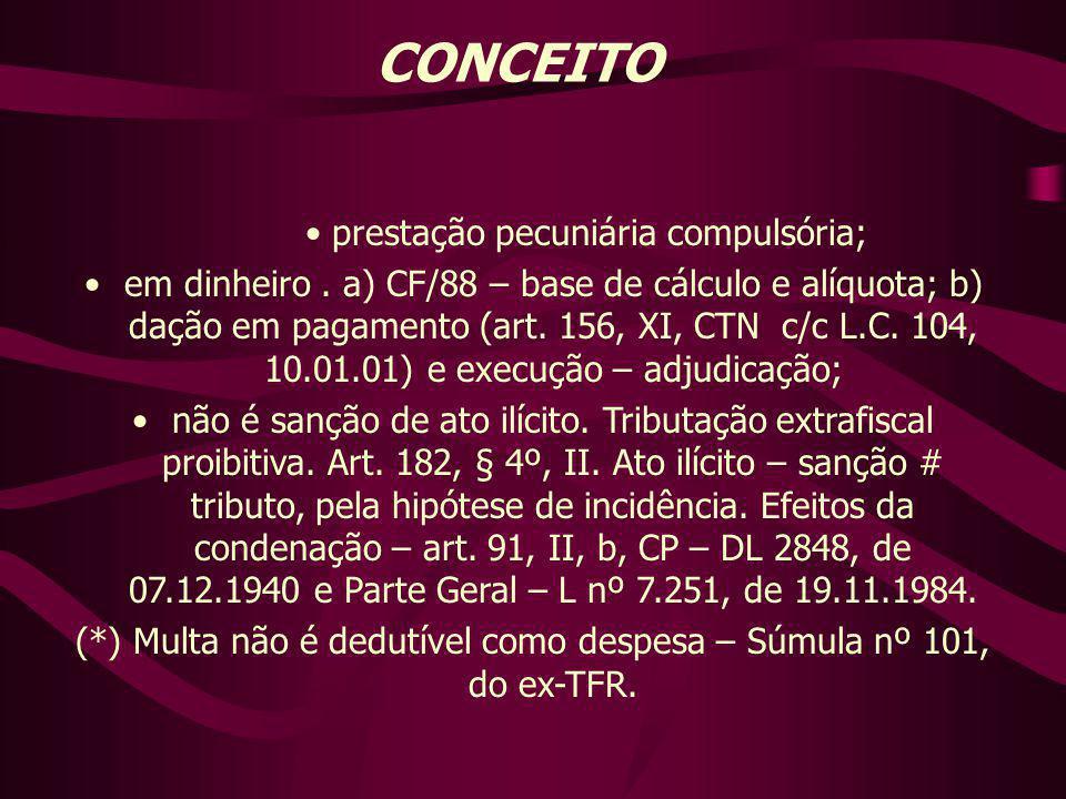 CONCEITO prestação pecuniária compulsória; em dinheiro. a) CF/88 – base de cálculo e alíquota; b) dação em pagamento (art. 156, XI, CTN c/c L.C. 104,