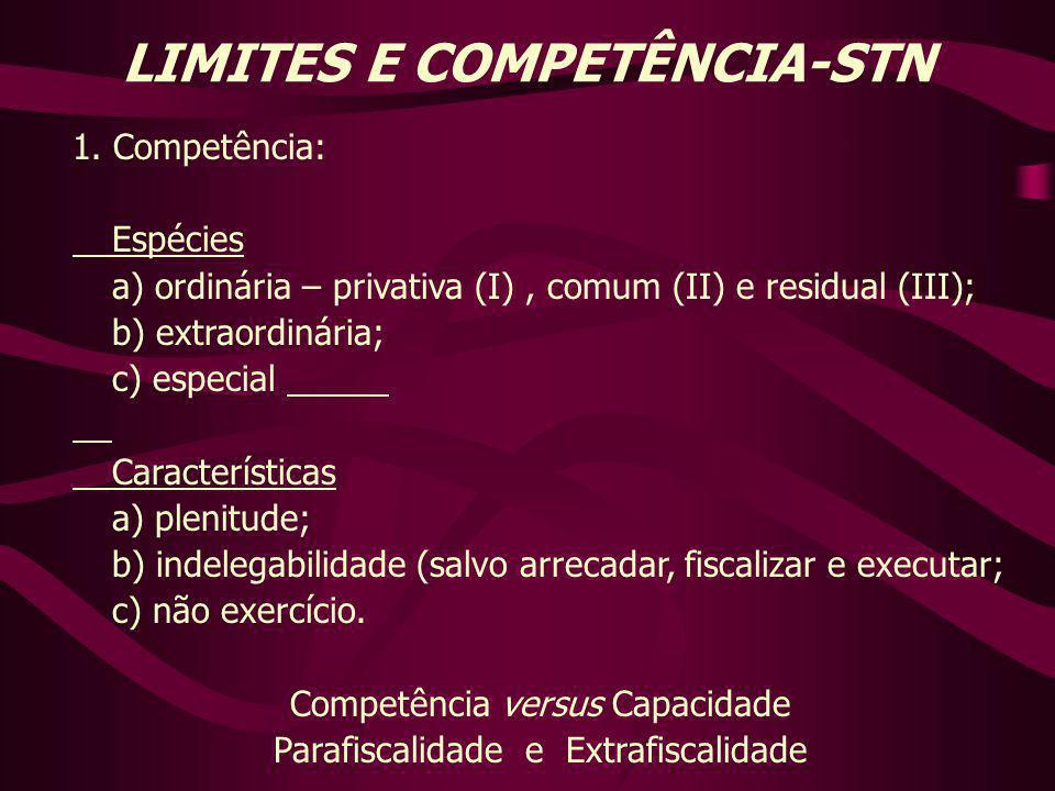 LIMITES E COMPETÊNCIA-STN 1. Competência: Espécies a) ordinária – privativa (I), comum (II) e residual (III); b) extraordinária; c) especial Caracterí