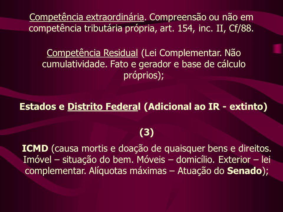 Competência extraordinária. Compreensão ou não em competência tributária própria, art. 154, inc. II, Cf/88. Competência Residual (Lei Complementar. Nã