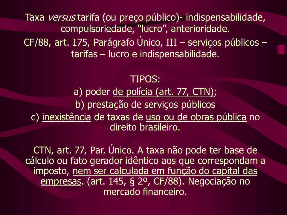 Taxa versus tarifa (ou preço público)- indispensabilidade, compulsoriedade, lucro , anterioridade.