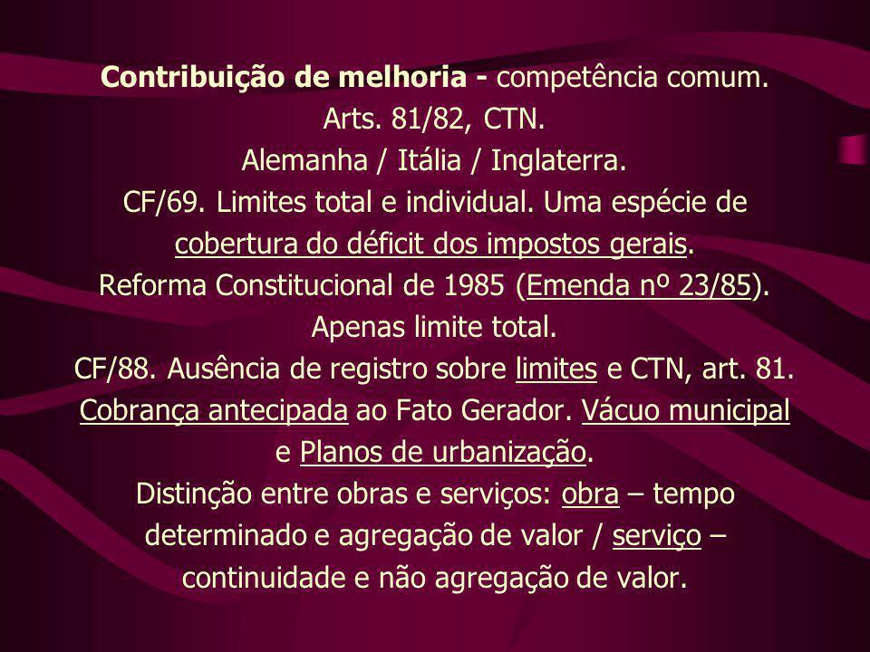 Contribuição de melhoria - competência comum. Arts. 81/82, CTN. Alemanha / Itália / Inglaterra. CF/69. Limites total e individual. Uma espécie de cobe
