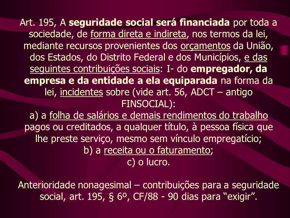Art. 195, A seguridade social será financiada por toda a sociedade, de forma direta e indireta, nos termos da lei, mediante recursos provenientes dos
