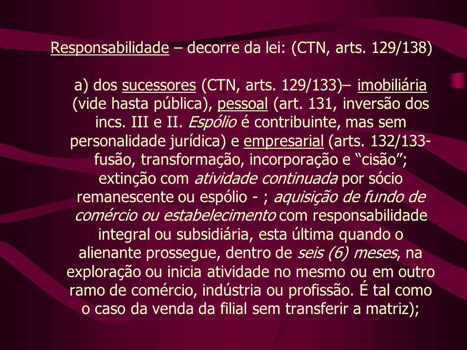Responsabilidade – decorre da lei: (CTN, arts.129/138) a) dos sucessores (CTN, arts.