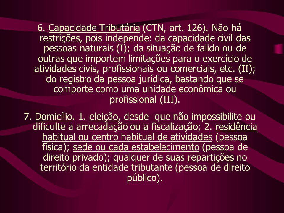 6. Capacidade Tributária (CTN, art. 126). Não há restrições, pois independe: da capacidade civil das pessoas naturais (I); da situação de falido ou de