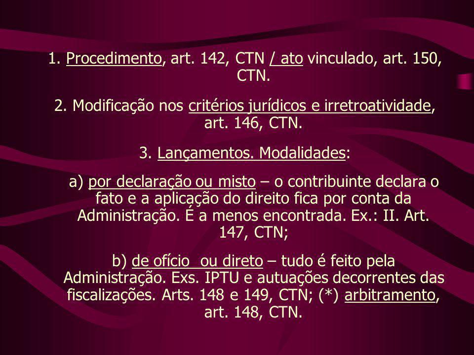 1. Procedimento, art. 142, CTN / ato vinculado, art. 150, CTN. 2. Modificação nos critérios jurídicos e irretroatividade, art. 146, CTN. 3. Lançamento