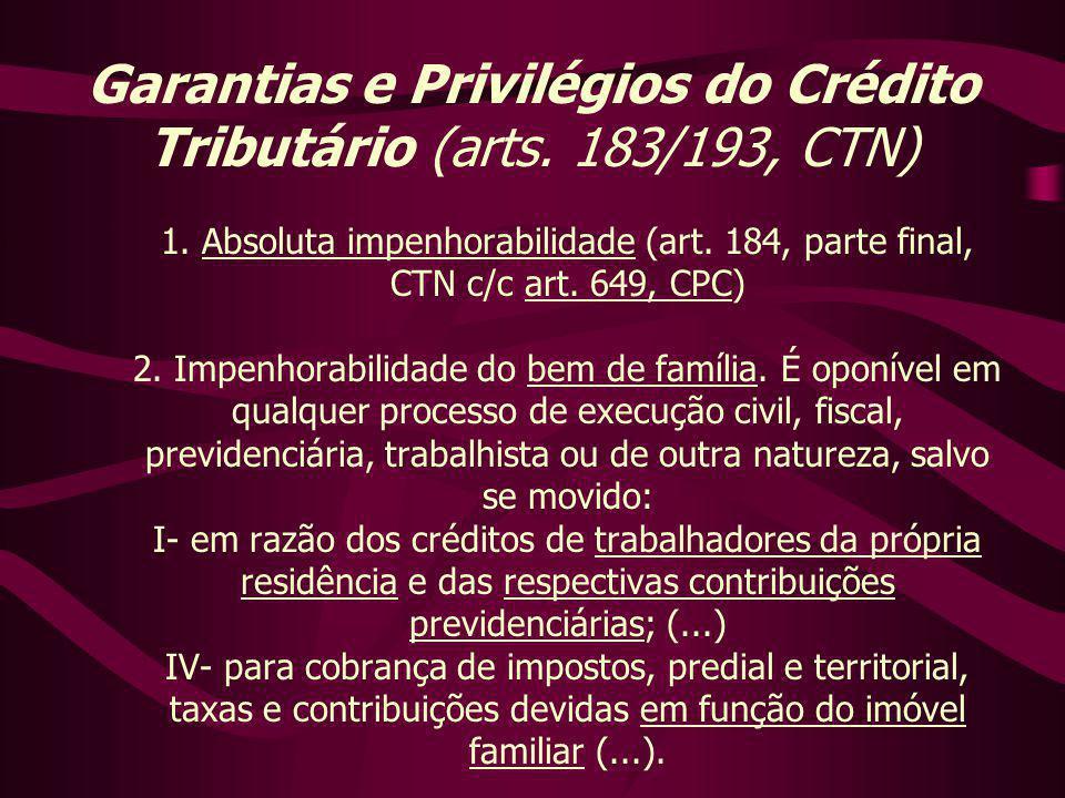 1. Absoluta impenhorabilidade (art. 184, parte final, CTN c/c art. 649, CPC) 2. Impenhorabilidade do bem de família. É oponível em qualquer processo d