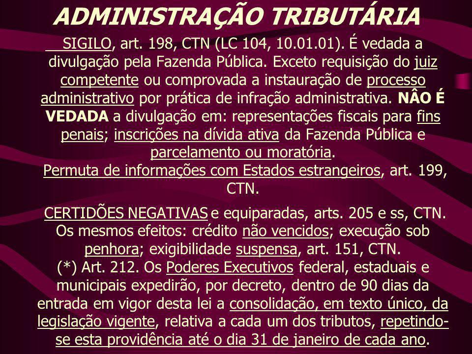 ADMINISTRAÇÃO TRIBUTÁRIA SIGILO, art. 198, CTN (LC 104, 10.01.01). É vedada a divulgação pela Fazenda Pública. Exceto requisição do juiz competente ou