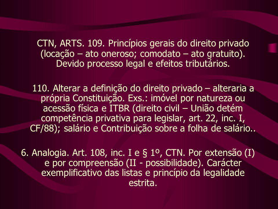 CTN, ARTS. 109. Princípios gerais do direito privado (locação – ato oneroso; comodato – ato gratuito). Devido processo legal e efeitos tributários. 11