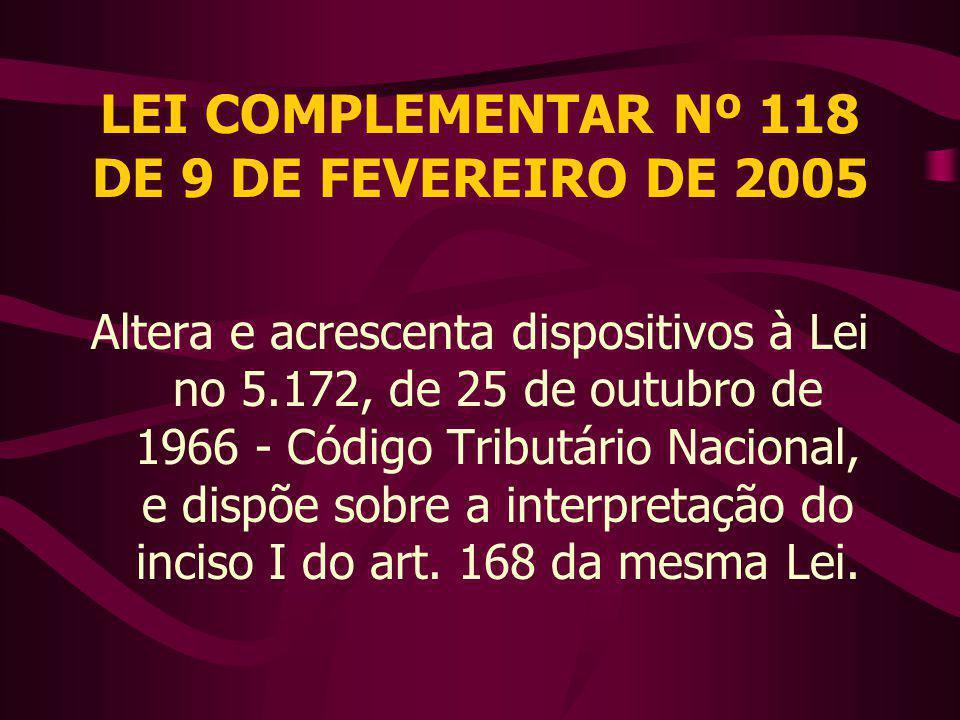 LEI COMPLEMENTAR Nº 118 DE 9 DE FEVEREIRO DE 2005 Altera e acrescenta dispositivos à Lei no 5.172, de 25 de outubro de 1966 - Código Tributário Nacional, e dispõe sobre a interpretação do inciso I do art.