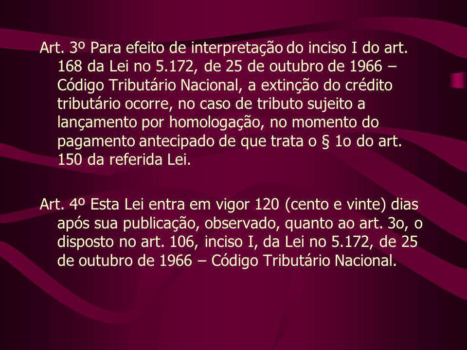 Art. 3º Para efeito de interpretação do inciso I do art. 168 da Lei no 5.172, de 25 de outubro de 1966 – Código Tributário Nacional, a extinção do cré