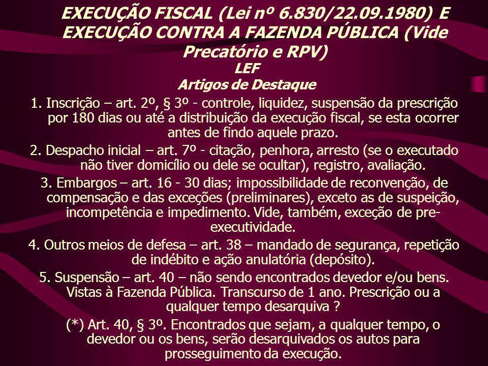EXECUÇÃO FISCAL (Lei nº 6.830/22.09.1980) E EXECUÇÃO CONTRA A FAZENDA PÚBLICA (Vide Precatório e RPV) LEF Artigos de Destaque 1. Inscrição – art. 2º,