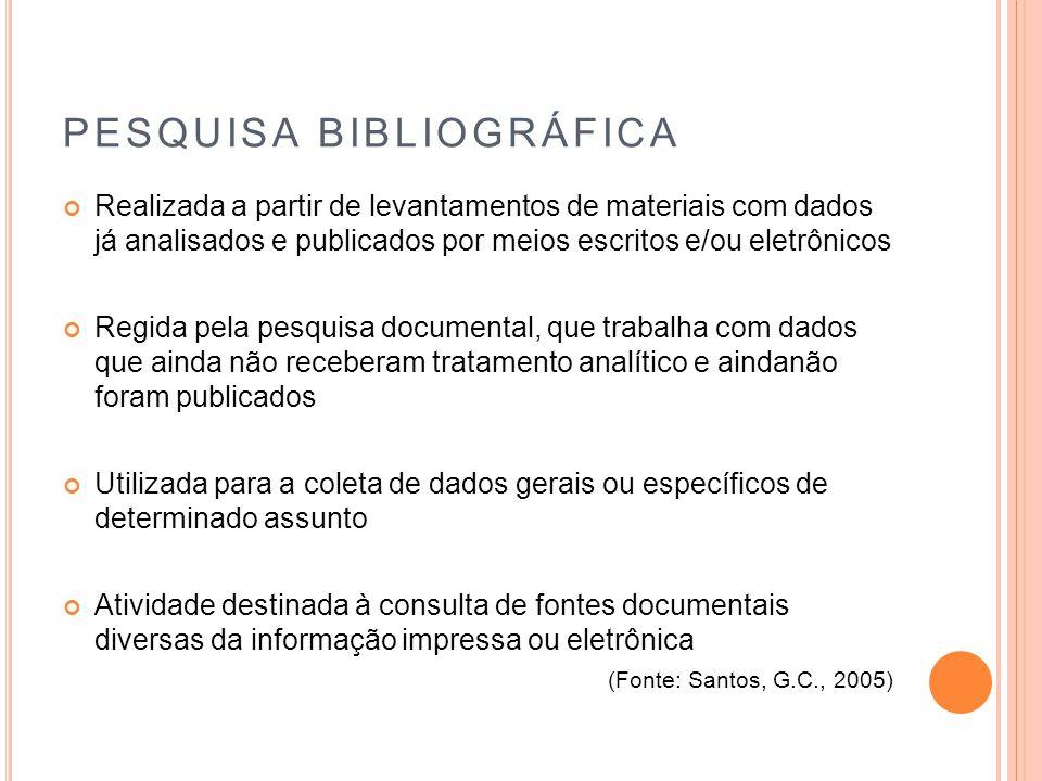 PESQUISA BIBLIOGRÁFICA Realizada a partir de levantamentos de materiais com dados já analisados e publicados por meios escritos e/ou eletrônicos Regid